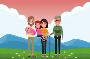 familj utomhus porträtt