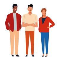 Gruppe von verschiedenen Cartoon-Freunden in Freizeitkleidung vektor