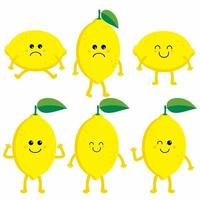 uppsättning tecknade citroner