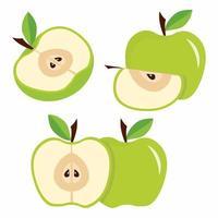 grüne Äpfel mit Blättern