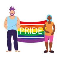 Menschen mit lgbtq Stolz Flagge, Gleichheit und Schwulenrechten vektor