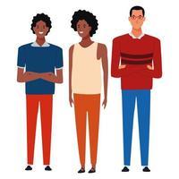 grupp stående tecknade vänner