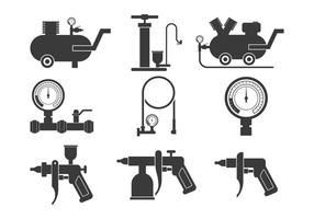 Luftpump ikoner Set vektor