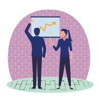 Geschäftsleute-Zeichentrickfiguren, die Diagramm betrachten