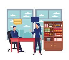 Geschäftsleute sprechen in Besprechungen