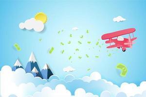 plan som flyger i himlen med spridda pengar vektor