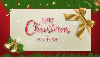 Weihnachtskalligraphie auf Papier mit Ornament und Zweigrahmen vektor