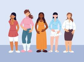 vielfältige Gruppe von Frauen in Freizeitkleidung