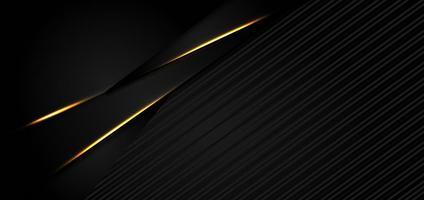 abstrakter abgewinkelter schwarzer Hintergrund mit goldenen Rändern vektor