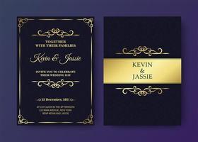 Luxus Vintage Schwarz und Gold Einladungskarte Vorlage vektor