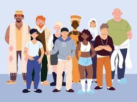 grupp mångkulturella människor i casual kläder står vektor