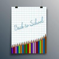 tillbaka till skolatypografi på rutpapper med pennor vektor