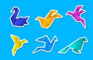 bunte Origami-Papierart-Vogelaufkleber-Sammlung vektor