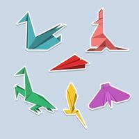 künstlerisch buntes Origami-Aufkleberset vektor