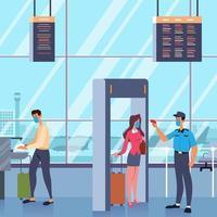 neue normal überprüfende Passagiere am Flughafen vektor