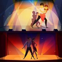 Zeichentrickfiguren tanzen Banner Set vektor