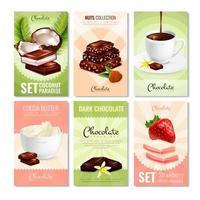 Set mit sechs Plakaten für Schokoladenprodukte vektor