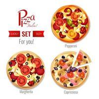 italiensk pizzaset vektor