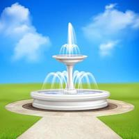 Wasserbrunnen in einem Garten im Freien vektor