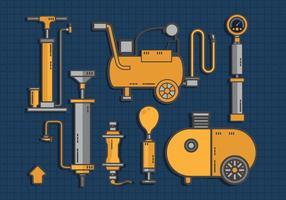 Luftpumpe Werkzeug-Satz Vector Wohnung
