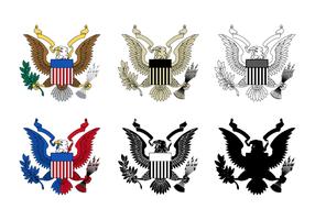 Sex utforma av Eagle Seal vektor