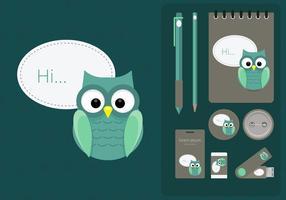 Corporate Identity Vorlage Mit Eulen-Illustration vektor