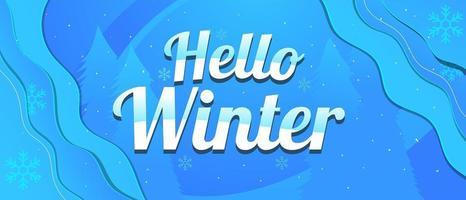 vinterbakgrund med snöflingor i papperssnittstil