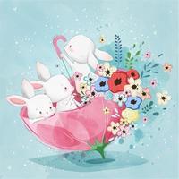 kleine Hasen in einem Frühlingsschirm mit Blumen vektor