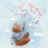 kleiner Bär fliegt mit Schmetterlingen vektor