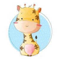 söt giraff i pusselmönster vektor