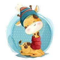 süße Giraffe trägt einen Schal