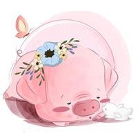 Baby Schweinchen mit Hase vektor