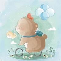 kleiner Bär fährt Fahrrad vektor