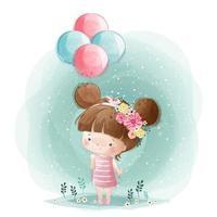 söt liten flicka som håller ballonger vektor