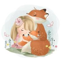 söt tjej med mamma och baby räv
