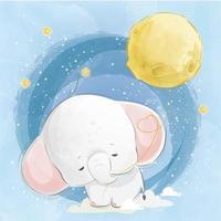 kleiner Elefant, der einen Mond zieht vektor