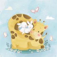 süße Giraffe umgibt die Hasen vektor