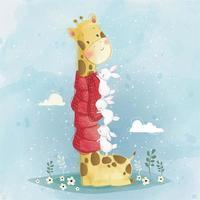 söt giraff och kaniner vektor