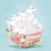 söta påskkaniner i ägget