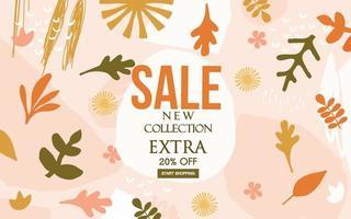 försäljning banner med blad och blommor vektor