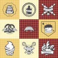 vintage bageri logotyp set vektor