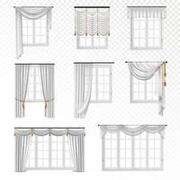 uppsättning realistiska fönster med vita gardiner vektor