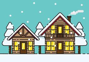 Snöig Chalet Vector Illustration