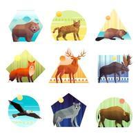 månghörnigt djur ikonuppsättning vektor