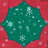 roter und grüner Weihnachtsrahmenentwurf mit Schneeflocken vektor