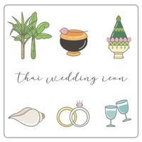 Hochzeit Timeline Thai Icons Set vektor