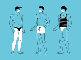Männer am Strand tragen Gesichtsmaske