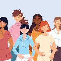 mångkulturella kvinnor i avslappnade kläder vektor