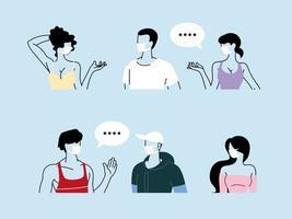 människor som pratar med avstånd för att förhindra koronavirus