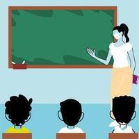 Kinder Studenten tragen Gesichtsmaske im Unterricht vektor